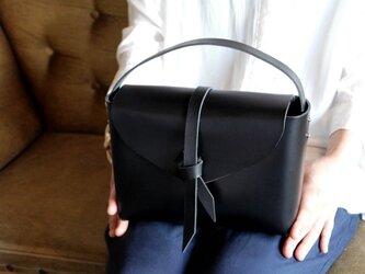 2way leather box bag / 2way レザーボックスバッグ #黒色の画像