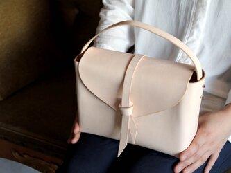 2way leather box bag / 2way レザーボックスバッグ #ベージュ(ヌメ革)の画像