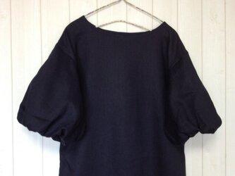 L・濃紺リネンバルーン袖ワンピースの画像