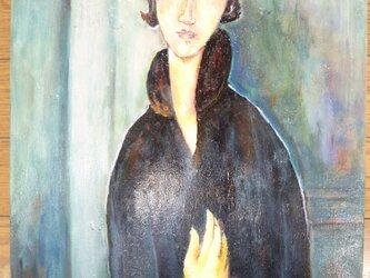 モディリアーニ「青い目の女」模写の画像