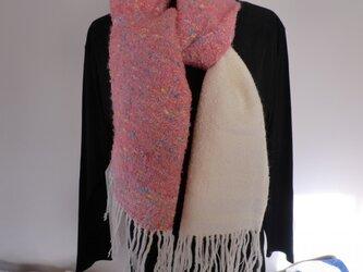 手織りストール おしゃれな切り替えツートーン ピンク、白の画像