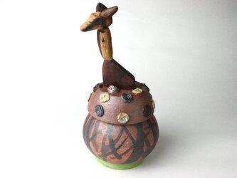 陶芸家の愉しい動物の陶器箱 NO.3/ 陶箱/ 現代陶芸/ 備前焼/ 木工動物/ 蓋物/ アフリカインテリの画像