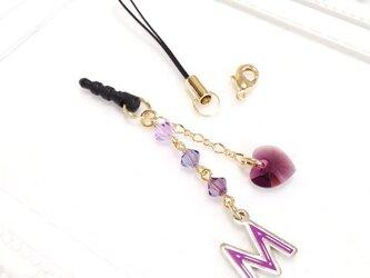 イニシャル「M/紫」イヤホンジャック  (シリーズ【紫・黄・青・赤・緑】 5色カラー)の画像