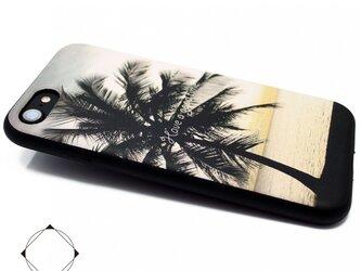 iphone7ケース(4.7インチ用)軽量レザーケースiphone7カバー(サンセットビーチ×ブラック)の画像