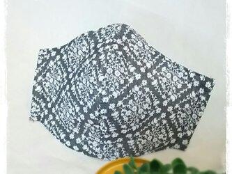 (LL)ワイヤ入り立体マスク*花柄ダイヤ*グレーの画像