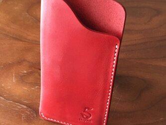 栃木レザーNew iPhoneSE/8/7/6S/6スリーブケース。赤。の画像