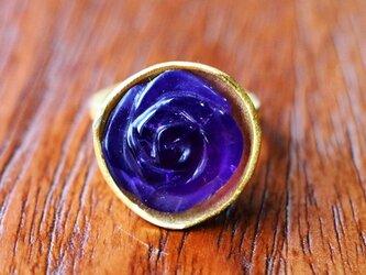 古代スタイル*アメジスト 薔薇 指輪* 7号 スターリングシルバー(ゴールド)の画像