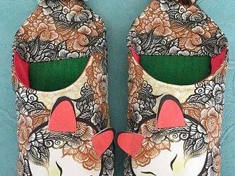 花柄三毛猫バブーシュ(B)大きいサイズの画像
