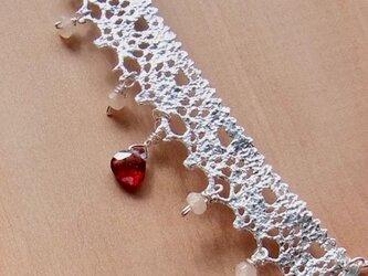 アンティークレースと貴石のネックレス(SV925)の画像