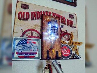★壁掛け木製アメリカンボトルホルダー。ビンテージウッド加工★の画像