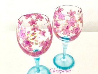 【桜ハンドメイド2017新作】桜ワイングラス1つの画像