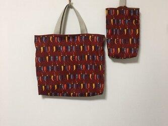 【幼稚園のご準備品2点セット】唐辛子柄レッスンバッグ&シューズバッグの画像