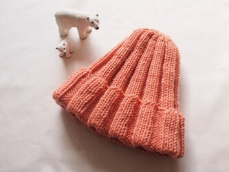 *新色*極太リブ編みニット帽【サーモンピンク】の画像
