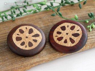 レンコン 木製ブローチの画像
