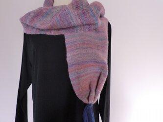 手織りミックスマフラー ピンクパープル系の画像