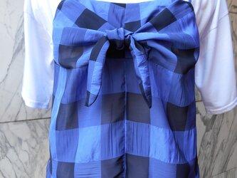 チェック柄リボン結びキャミソール青の画像