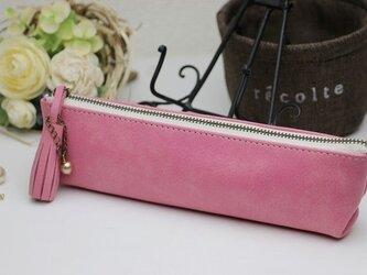 受注生産*カラフルな革ペンケース ピンクの画像