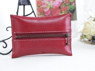 【受注生産】カラフルな革 ポケットティッシュケース フェーズレッドの画像