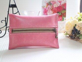 【受注生産】カラフルな革 ポケットティッシュケース ピンクの画像