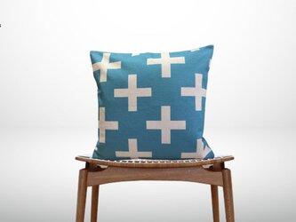 森のクッション geometric light blue ヒノキの香りの画像