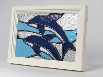 ステンドグラスパネル イルカ(ドルフィン)の画像