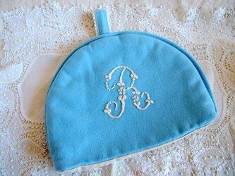 イニシャル刺繍入り ウールのティーコゼー(ポットカバー)の画像
