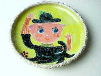 子供と猫の子供食器/ プレート皿/ 陶器/ 陶芸/ かわいい食器/cute ceramicの画像