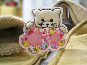★ピンクの花と白猫★アップリケワッペン★の画像