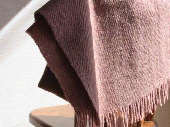 【手紡ぎ・手織り】ウール ショール ブランケット 春霞・梅の画像