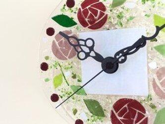 【即納】ミニ壁掛け時計(カラーローズ)の画像