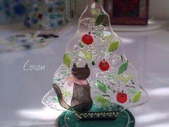 【即納】赤いリンゴの木とネコのツリーの画像