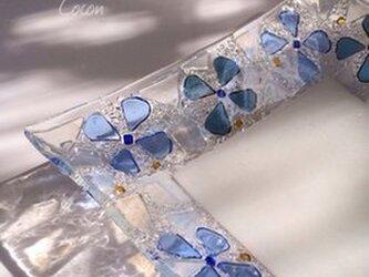【オーダー制作】青いお花の角皿の画像