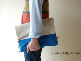 倉敷帆布*A4サイズの二つ折りクラッチバッグ<ソライロ(限定色)>の画像