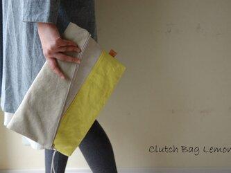 倉敷帆布*A4サイズの二つ折りクラッチバッグ<レモン(限定色)>の画像