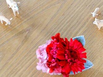 【レッドクリスタル】 プリザーブドフラワー コサージュ ガーベラ 結婚式 発表会 卒業式 入学式 ヘッドドレス 還暦 七五三の画像
