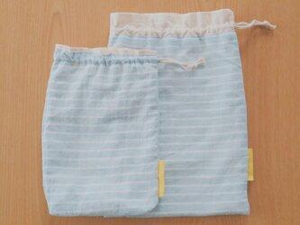しましまリネンの巾着&コップ袋の画像