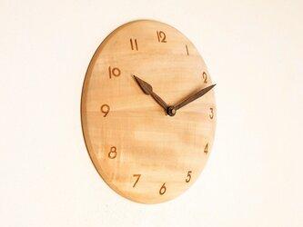木製 掛け時計 丸 栃(トチ)材9の画像