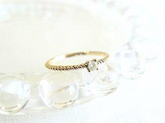 【受注製作】ツイストピンキーリング / ナチュラルダイヤモンド K10YGの画像
