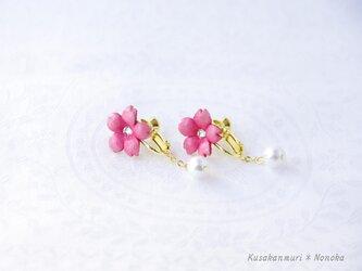 手染めレザーの桜イヤリング*の画像