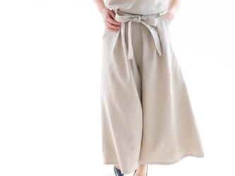 【wafu】中厚 リネン パンツ ワイドキュロット スカーチョ 紐付き 後ろゴム / 亜麻ナチュラル b006c-amn2の画像