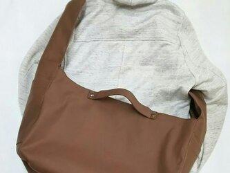 倉敷帆布(11号薄地・焦げ茶)2wayトートバッグ大きめサイズの画像