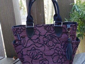 サイドポケットバッグS(モダン紫×バーバリー織り持ち手)の画像
