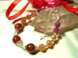 薔薇色の人生へと導く情熱あふれるブレス インカローズ&ルビー&サンストーンの画像