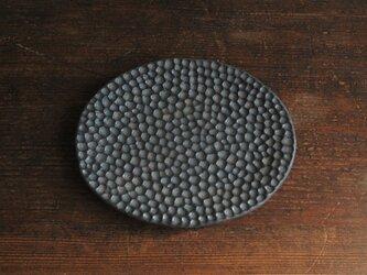 黒結晶水玉菓子皿・楕円の画像