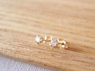 天然ダイヤモンドのスタッドピアス [極小2mm]14KGFの画像