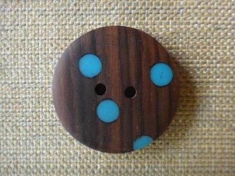 紫檀に青い水玉のボタンの画像