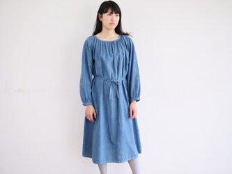 エシカルヘンプギャザードレス 正藍染め藍色の画像