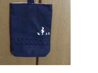 通園通学★上品な手刺繍がお勧めの紺色くつ入れの画像