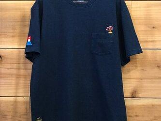 桜&富士山 刺繍 インディゴ染めTシャツ(ポケット付)の画像
