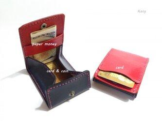 カードとコインの財布Ⅱ CC-06-2 コインケース ヌメ革 RED & BLACK【受注生産】の画像